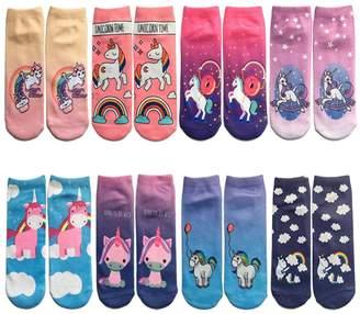 Topivot Women Girls Funny Socks,8 Pairs Crazy Novelty Cute Ankle Socks 3D Printed Low Cut Socks Gift Packs