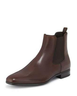 Prada Leather Chelsea Rubber-Bottom Boot, Brown