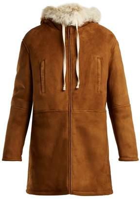 Saint Laurent Hooded Shearling Coat - Womens - Light Brown