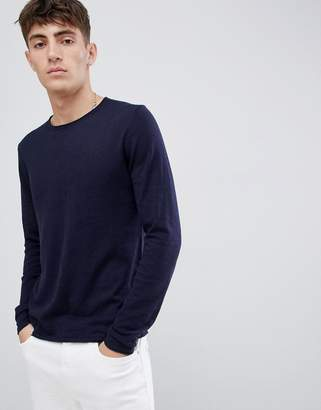 Esprit Recycled Cotton Lightweight Sweater In Navy