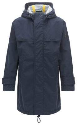 BOSS Hugo Relaxed-fit raincoat in two-layer performance fabric 44R Dark Blue