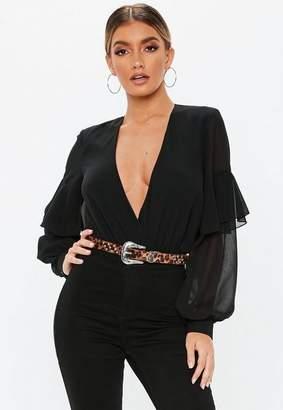Missguided Black Wrap Front Ruffle Sleeve Bodysuit