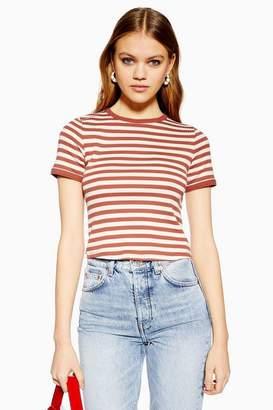 5d0c4aab Topshop Womens Short Sleeve Stripe Scallop T-Shirt