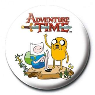 Finn Adventure Time & Jake White At Badge One Size