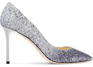 Jimmy Choo Romy 85mm Dégradé Glittered Leather Pumps - Silver