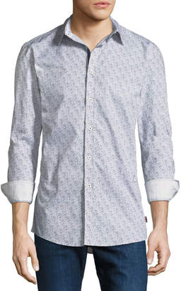 English Laundry Abstract Dot-Line Sport Shirt, White