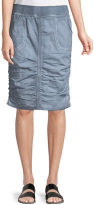 XCVI Chara Stretch-Poplin Ruched Skirt