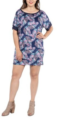 24/7 Comfort Apparel 24Seven Comfort Apparel Taylor Blue Feather Print Plus Size Mini Dress