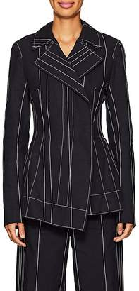 Cédric Charlier Women's Striped Linen-Cotton Hourglass Blazer