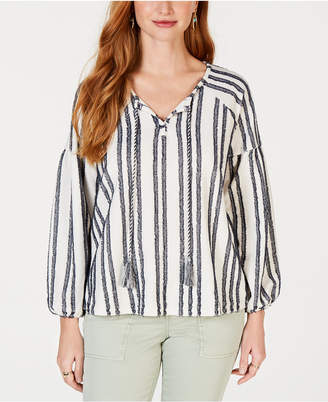 Style&Co. Style & Co Petite Striped Peasant Top