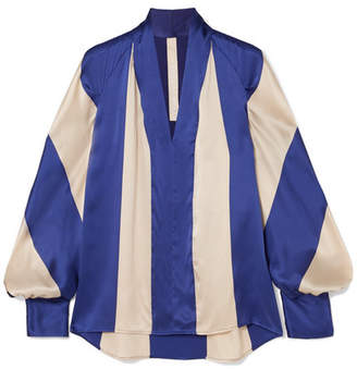 Petar Petrov Striped Silk-satin Blouse - Royal blue