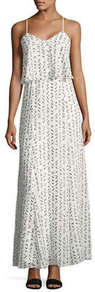 Halston H Embroidered Square Maxi Dress