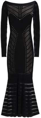 Temperley London Fluted Open-Knit Midi Dress