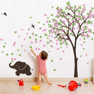 Wall Art Tree With Birds And Baby Elephant Sticker