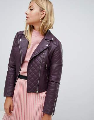 Miss Selfridge quilted faux leather biker jacket in burgundy