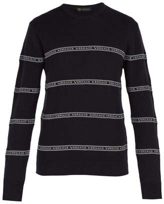 Versace Logo Tape Cotton Blend Sweater - Mens - Navy
