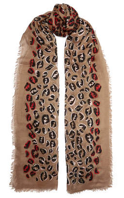 Fendi Fringed Leopard-print Modal And Silk-blend Voile Scarf