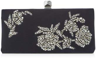 Jimmy Choo CELESTE/S Navy Velvet Clutch bag with Peony Crystal Embroidery