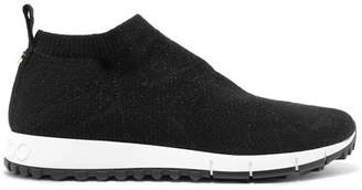 Jimmy Choo Norway Metallic Stretch-knit Sneakers - Black