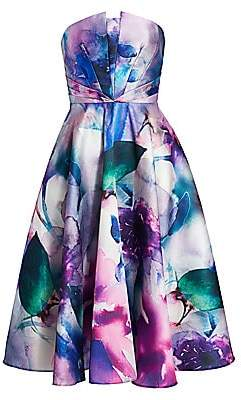 Marchesa Women's Strapless Floral Printed Mikado Fit-&-Flare Dress