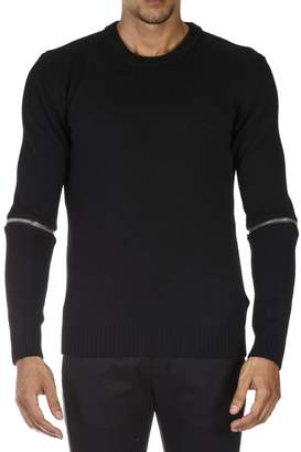 Les Hommes Black Wool Zippers Knitwear