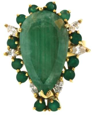 18K Yellow Gold With Diamond & 12.00ctw Natural Emerald Cocktail Ring