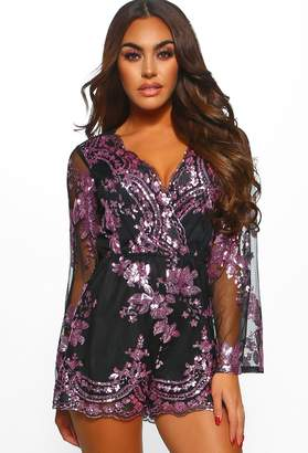 a7fcd1e42c Pink Boutique Cocktail Lover Black Sequin Flared Sleeve Playsuit