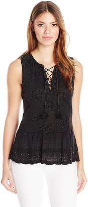 Lucky Brand Women's Washed Studded Tank Top, Black