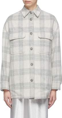Vince Oversized check plaid melton shirt jacket