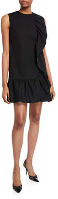 RED Valentino Sleeveless Tricotine Tech Dress with Pleated Ruffle Trim