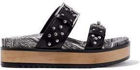Alexander McQueen Goya Studded Leather Platform Slides