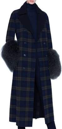 Akris Plaid Quilted Wool Lamb-Cuff Coat