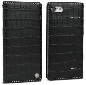 Wetherby NEW Croco leather iPhone 7 case in Pure Black / handmade by Design