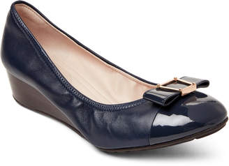 Cole Haan Marine Blue Emory Bow Wedge Pumps