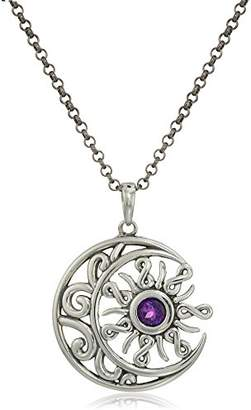 Celtic Sterling Silver Oxidized Genuine African Amethyst Crescent Moon and Sun Pendant Necklace