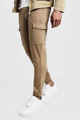 boohoo Skinny Fit Cargo Cuff Chino Pants
