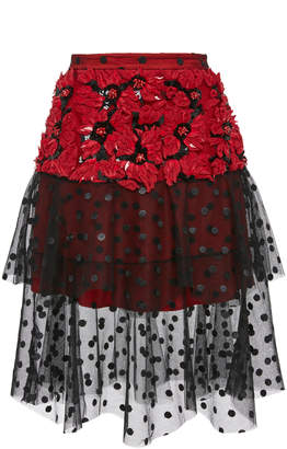 Rodarte M'O Exclusive Poinsettia Flower Layered Tulle Skirt