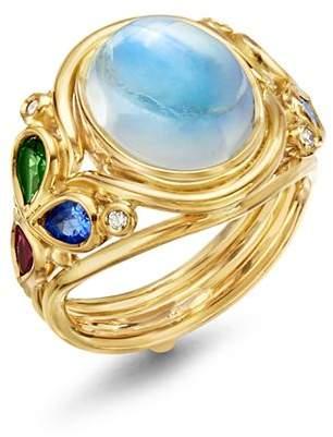 Temple St. Clair 18K Yellow Gold Classic Oasis Moonstone, Diamond & Multi Gemstone Ring