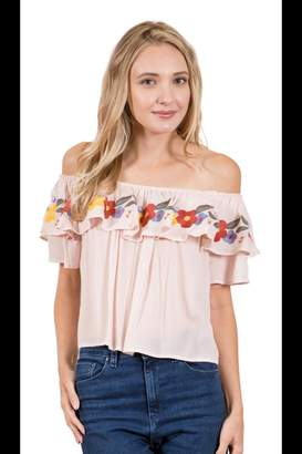 Blush Lingerie Embroidered Ruffle Top