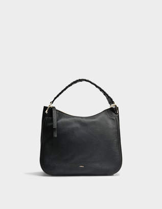 Furla Rialto Large Hobo Bag in Onyx Calfskin