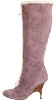 Giuseppe Zanotti Suede Pointed-Toe Boots Purple Suede Pointed-Toe Boots