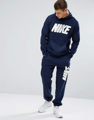 Nike Jdi Fleece Tracksuit Set In Navy 861768-451