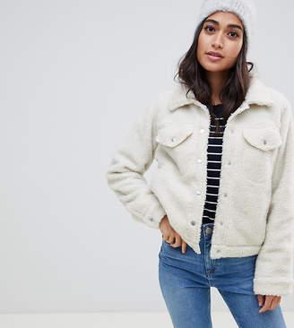 Brave Soul Petite macy trucker jacket in borg