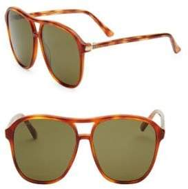 Gucci Tortoiseshell 56MM Square Sunglasses