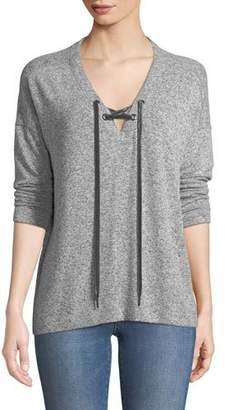 Rails Leigh V-Neck Velvet-Ties Long-Sleeve Heathered Top