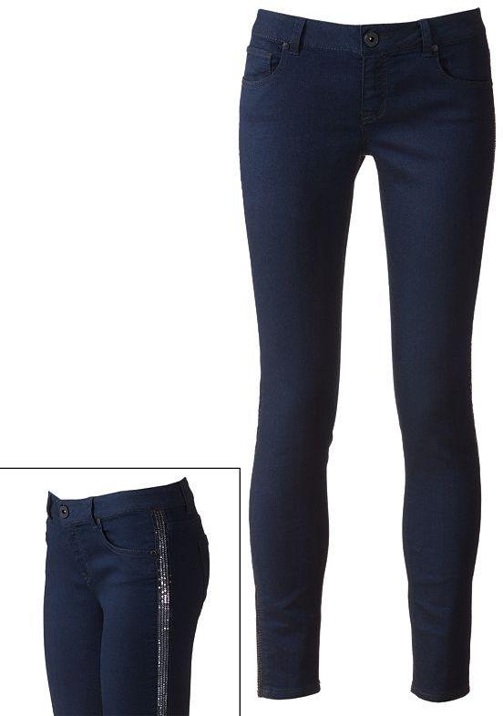 Tinseltown sequin tuxedo skinny jeans - juniors