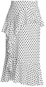 Erdem Women's Roselia Silk Polka Dot Midi Skirt