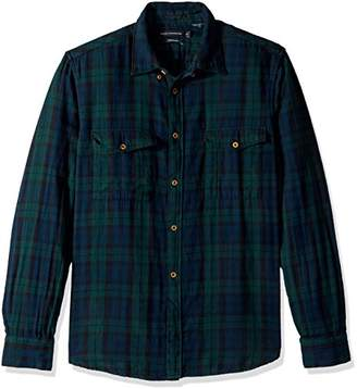 French Connection Men's Blackwatch Double Pocket Button Down Shirt