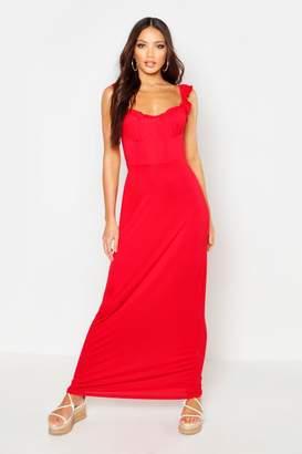 boohoo Jersey Cupped Ruffle Maxi Dress