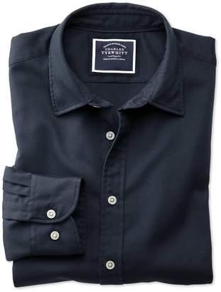 Charles Tyrwhitt Classic Fit Washed Dark Navy Honeycomb Textured Cotton Casual Shirt Single Cuff Size Medium